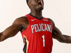 NEW ORLEANS, LA - JUNE 21: Zion Williamson #1 of the New Orleans Pelicans poses for a portrait on June 21, 2019 at the Ochsner Sports Performance Center in New Orleans, Louisiana. NOTE TO USER: User expressly acknowledges and agrees that, by downloading and or using this Photograph, user is consenting to the terms and conditions of the Getty Images License Agreement. Mandatory Copyright Notice: Copyright 2019 NBAE (Photo by Layne Murdoch/NBAE via Getty Images